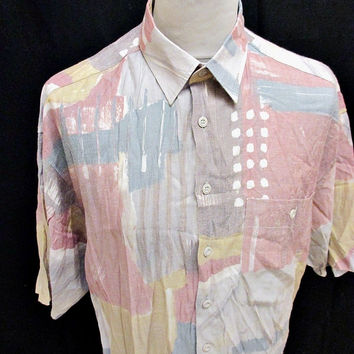 vtg 1990s Shirt Grunge Pattern Hip Hop Crazy Print Party XL AW15