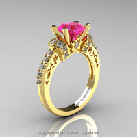Modern Armenian Classic 14K Yellow Gold 1.5 Ct Pink Sapphire Diamond Wedding Ring R137-14KYGDPS