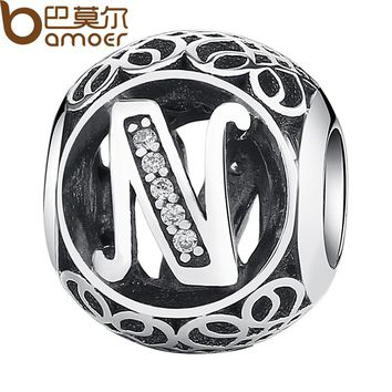 "925 Sterling Silver Letter Collocation Bead ""N"" Alphabet Bead Charms fit DIY Bracelets & Bangles DIY Jewelry PSC008-N"