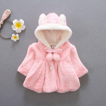 Baby Infant Girls clothing Winter Warm Coat Cloak Jacket Thick Warm kids girl Clothes Baby Girl Cute Hooded baby Coats Outerwear
