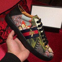GUCCI new embroidery men's shoes tide brand casual wild bee sneakers F0324-1 Floral