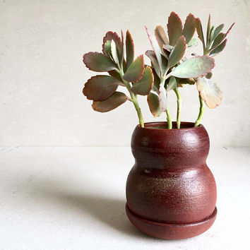 BURGUNDY PLANTER with Tray, ceramics, ceramic, pottery, handmade, ceramicplanter, handmadeplanter, succulent, red, wine, plant pot, flower