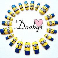 DOOBYS 20 Hand Painted False Nails Set Complete 3D googly eye minion despicable me 2 cute disney cartoon