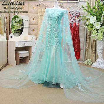 Dubai Luxury Light Blue Mermaid Lace and Beaded Evening Dresses 2017 with Long Applique Tulle Shawl Formal Party Prom Gown XE182