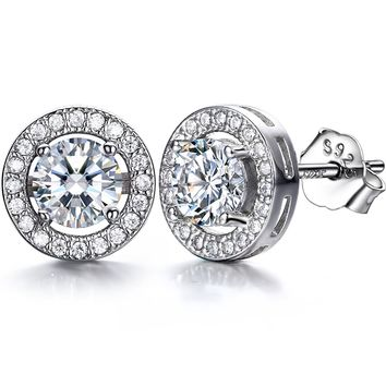 925 Silver Women Stud Earrings set 18K White Gold Plated with 3A 6mm Cubic Zirconia Cushion Shape Halo 1 carats Valentine's Day Gifts