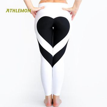 Heart Shape Leggings Women New Red Black Color Patchwork Print Leggins Big Size High Elasticity Fitness Leggings Lulu Yoga