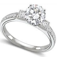 Engagement Ring With Round And Princess Diamonds