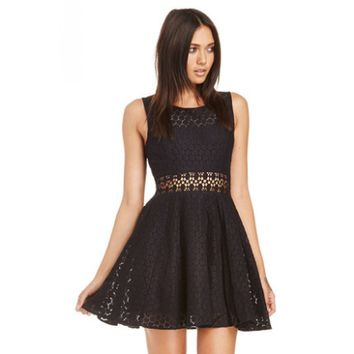 Lace Overlay Illusion Waist Dress