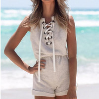 Cross Wrap V-neck Hollow Sleeveless Short Rolled Hem Jumpsuit