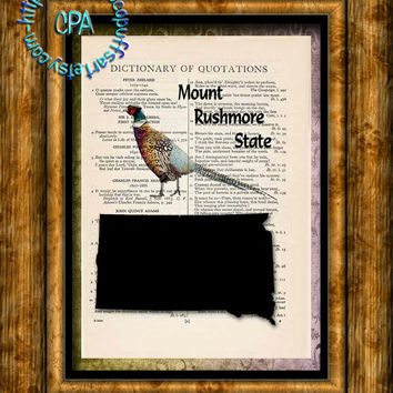 SOUTH DAKOTA State Black Silhouette, State Bird, State Nickname Art - Beautifully Upcycled Vintage Dictionary Page Book Art Print