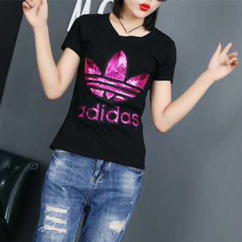 """Adidas"" Fashion Casual Clover Letter Embroidery Sequin Round Neck Short Sleeve T-shirt Shirt Top Tee"