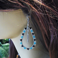 Hoop Earrings In Black, Turquoise, and Silver Seed Beads With Silver Feather Dangle/Tear drop Hoops/Beaded Earrings/Accessories/Jewelry