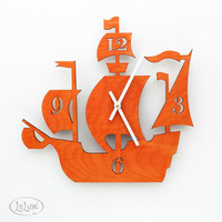 "The ""Dread Pirate Roberts"" in Orange, a designer wall mounted clock from LeLuni"