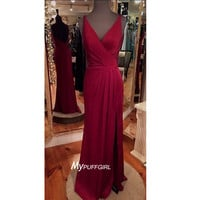 Wine Red V Neck Backless Prom Dress , Formal Gown With Side Slit
