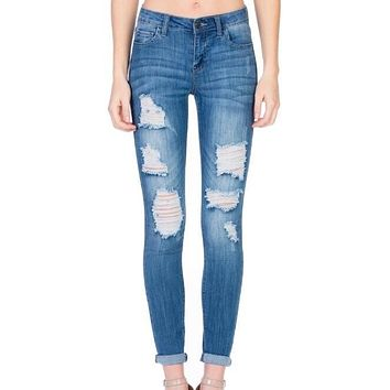victoria - destroyed mid rise rolled skinny - medium wash