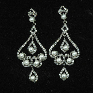 Bridal Chandelier Wedding Earrings - Pearl and Crystal Earrings - Rhinestone Wedding Jewelry - Vintage Style Earrings