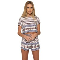 Two-Piece Set Contrast Print Keyhole Elastic Waist Shorts +Women Crop Top Casual Outfit