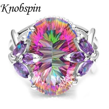 Hot New inlaid Colorful Rainbow Zircon Ring for Women European Wedding Engagement Ring with Big Stone Princess Bride Jewelry