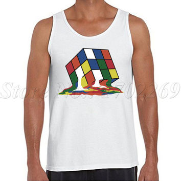 Sheldon Cooper Men tank tops Big Bang Theory Melted Melting Rubiks Cube colorful printed male singlets Pop Culture Vest