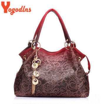 Yogodlns Hot brand women bag hollow out ombre handbag floral print shoudler bags ladies pu leather tote bag red/gray/blue