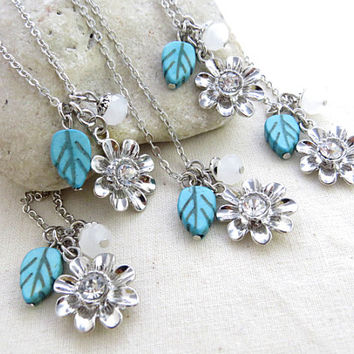 Set of 5 Floral Necklace, Bridesmaids Jewelry, Bridesmaid Gift, Keepsakes, Flower Necklace - FREE SHIPPING