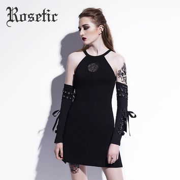 Rosetic Gothic Mini Dress Pentagram Embroidery Black Fashion Women Summer Sexy Casual Dress Party Club A-Line O-Neck Goth Dress