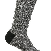 black marled crew sock with crochet trim