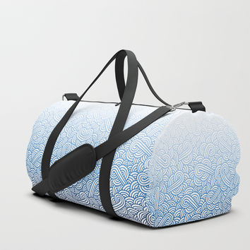 Gradient blue and white swirls doodles Duffle Bag by Savousepate