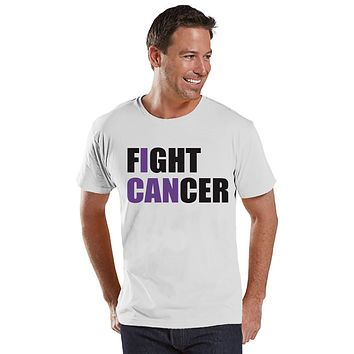 Men's I Can Fight Cancer Shirt - Cancer Awareness T-Shirt - White T Shirt - Team Race Running Shirt - Fight Cancer Shirt - Race Day Tee