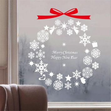 Keythemelife Hot Snowflake Window Stickers Christmas Wall Stickers Window Glass Cabinets Backdrop Decoration New Year C2