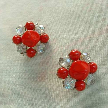 Festive Red Cluster Earrings AB Clip On Style Vintage Jewelry