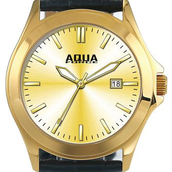 Aqua Force Elegant Gold Face Dress Watch w/ Black Leather Strap (30M water resistant)