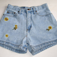 90s High Waist Denim Jean Shorts Embroidered Sunflowers 26""