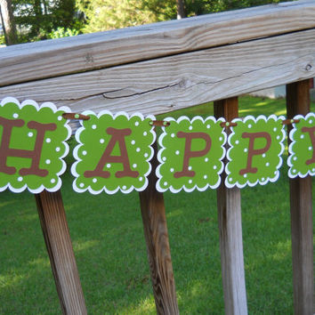 Monkey Birthday Banner Green and Brown Happy Birthday Party Banner Birthday Party in a Box