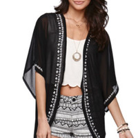 LA Hearts Embroidered Edge Kimono Shirt at PacSun.com