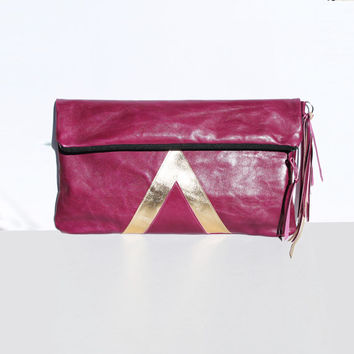 Cranberry Oversized Leather Clutch // Gold Art Deco Purse // Geometric Metallic Bag // New Years Party