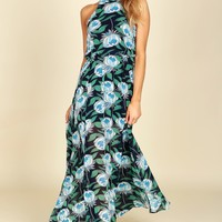 Floral High Neck Maxi Navy/Multi