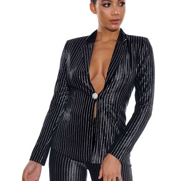 Tessa Black and Silver Glitter Stripe Tailored Blazer Jacket