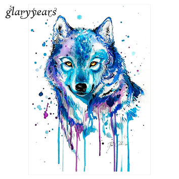 1 Sheet Watercolor Waterproof Tattoo KM-105 Blue Colors Drawing Wolf Decal Beauty Body Art Temporary Summer Style Tattoo Sticker