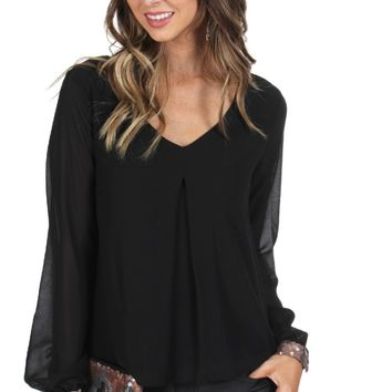 Sequin Cuff Blouse Black