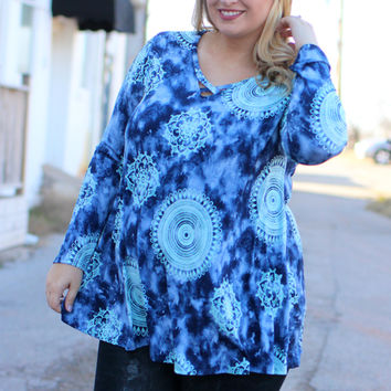 It's A Tie-Dye Mandala Print Tunic With Criss-Cross Neck ~ Navy ~ Sizes 12-18