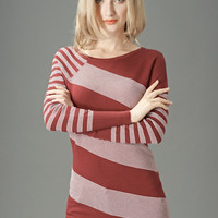 Maroon Striped Long Sleeve Knitted Sweater