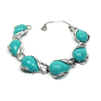 Coro Blue Green Vintage Thermoset Link Bracelet Silver Tone Mid Century 1960s 60s Mod Jewelry