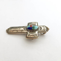 Vintage Carolyn Pollack Relios Sterling Cross with Multi Stone Inlay, Southwestern Sterling Silver Dual Sterling Piece Pin Brooch or Pendant