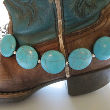 Turquoise Blue.. silver accents.. Girls' Cowgirl Boot Bling.. Western Boot bracelet.. adjustable