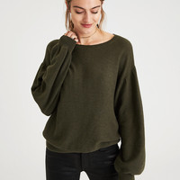 AE TEXTURED BALLOON SLEEVE SWEATER, Olive