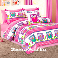 NATURE HOOT OWLS Girls PINK Lavender Twin~Full size COMFORTER Bedding SET+PiLLoW
