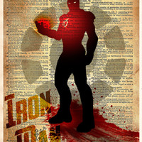 Iron Man art, Avengers, Vintage pop art print, Iron man splatter art print