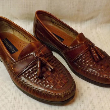 Mens Giorgio Brutini Leather Woven Tassel Loafers Size 8 Newark Brown