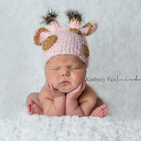 Newborn Giraffe Hat - Newborn, Baby, Girl, Giraffe, Hat, Beanie, Photo Prop, Photography Prop